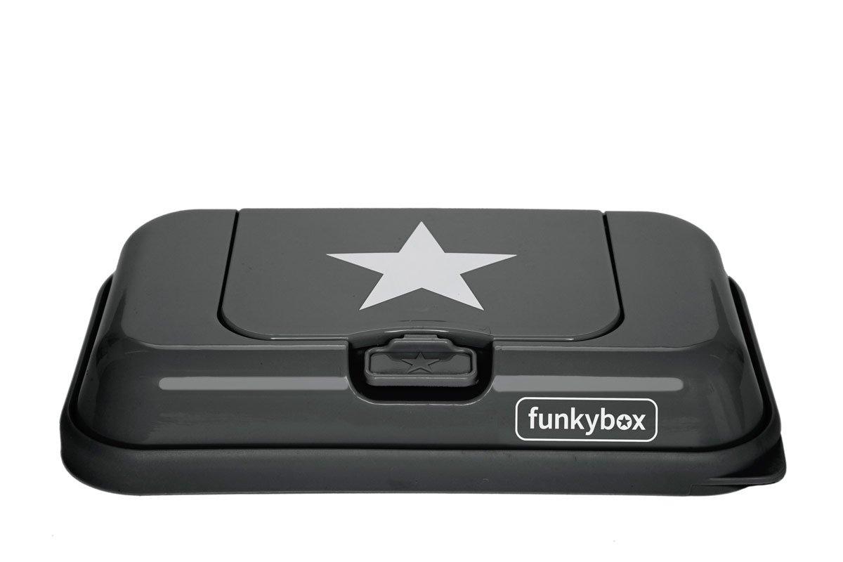 funkybox ToGo - Feuchttücherbox für unterwegs - in anthrazit mit weißem Stern