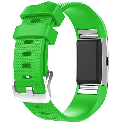 Price comparison product image Gotd Replacement Silicone Band for Fitbit Charge 2 Fitness Watch (Green 01)