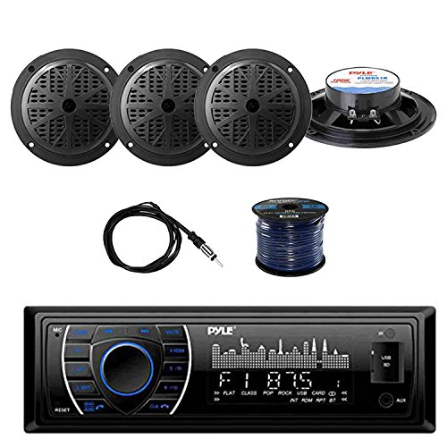 PYLE PLRMR27BTB Marine Bluetooth Receiver Stereo(Black) w/Pyle 100W 5.25'' 2-Way Marine Speakers(2-Pairs), Enrock Marine Antenna & Enrock Marine 50' 16G Speaker Wire Pyle Marine Radio Antenna