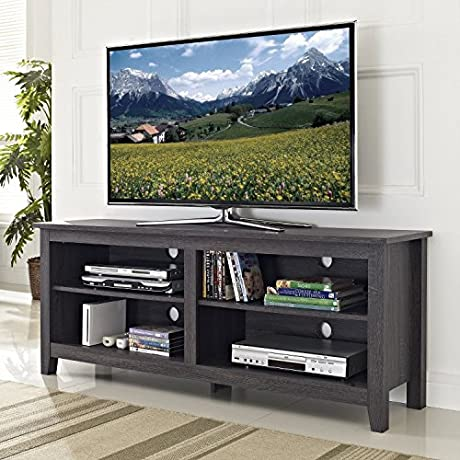 TV Stand For Flat Screens 60 Inch Premium Low Entertainment Center Wood Charcoal Console