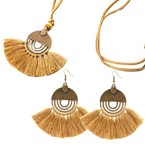 Tuoke-peri Colorful Fan Shape Tassel Earrings Ncklace Jewelry Sets Bohemian Dangle Drop Fashion Trending Women Earrings Pendant Necklace (Set5 Brown) ()