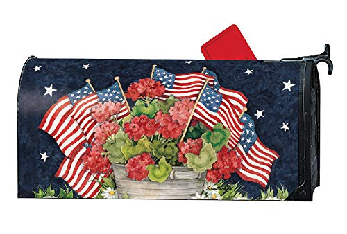 MailWraps Studio M Geraniums with Flags Decorative Patriotic Floral Oversized, The Original Magnetic Mailbox Cover, Made in USA, Superior Weather Durability, Large Size fits 8W x 21L Inch Mailbox