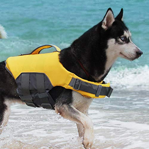 (ThinkPet Dog Life Jacket, Reflective Lifesaver with Rescue Handle,Quick Release Adjustable Floating Vest,High Buoyancy Aid Dog Saver X-Large Yellow)