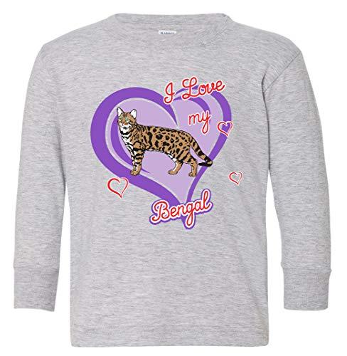 Tenacitee Toddler's Bengal Cat Long Sleeve T-Shirt, 3T, Heather Grey