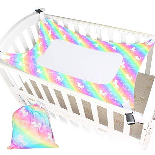 Nidoul Baby Crib Hammock, Newborn Infant Womb Hammock for Safe Sleeping, Unicorn Rainbow Printing - Enhanced 3X Layer Breathable Supportive Mesh, Strong Buckle Bassinet Hammock with Drawstring Bag