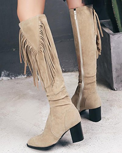 IDIFU Womens Trendy Fringes Faux Suede Mid Chunky Heels Zip Up Knee High Boots Beige MNLOuyc