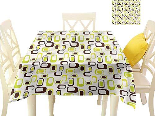 WilliamsDecor Printed Tablecloth Geometric,Nostalgic 60s Vibes Dinning Tabletop Decoration W 60