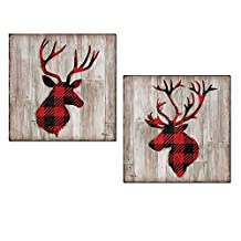 Beautiful Contemporary Red and Black Flannel Pattern Deer and Buck Silhouettes; Lodge Decor; Two 12x12in Paper Prints (Printed on Paper, Not Wood)