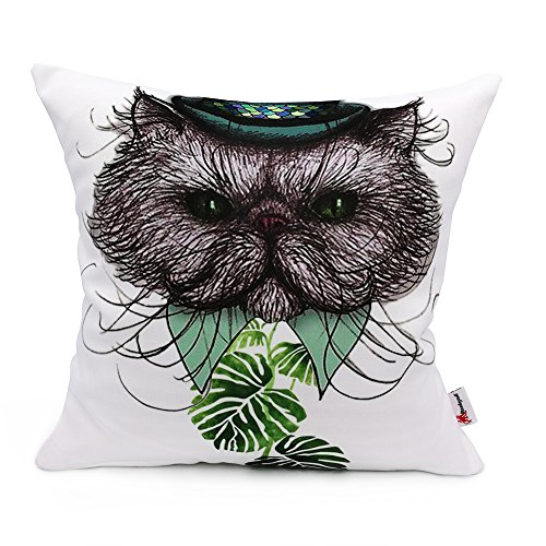 Monkeysell 2018 Original Waterproof Fabric Decoration Pillow Cover,Double-Sided Pattern Cactus + Love Throw Pillow Case Cushion Cover 18 x 18 (Art Cat + Love Pattern)