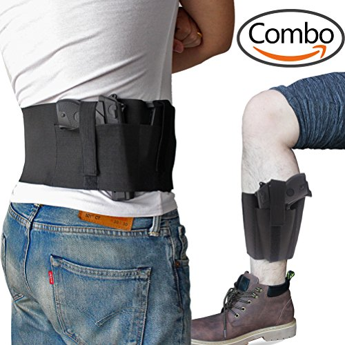 Bundle of Belly Band + Ankle Holster, Concealed Carry with Magazine Pocket/Pouch for Women Men Fits Glock, Ruger LCP, M&P Shield, Sig Sauer, Ruger, Kahr, Beretta, 1911, etc (Concealed Pocket Holster)