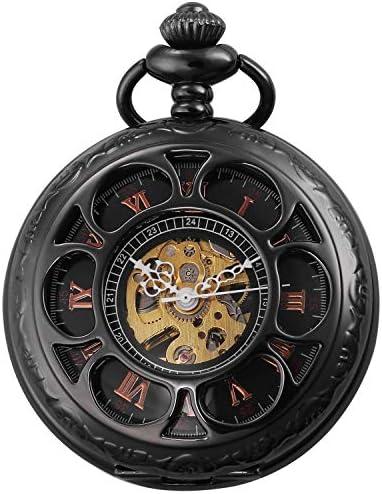 レトロなフリップ機械式懐中時計ローマンスケールメンズポケットウォッチネックレスジュエリー表学生の創造性、色名:1 (Color : 5)