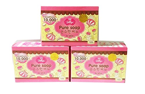 New Gluta Jellys Pure Soap Whitening Soap Vitamin E White Aura Reduce Dark Spot Anti Aging (Of 3 Bar)