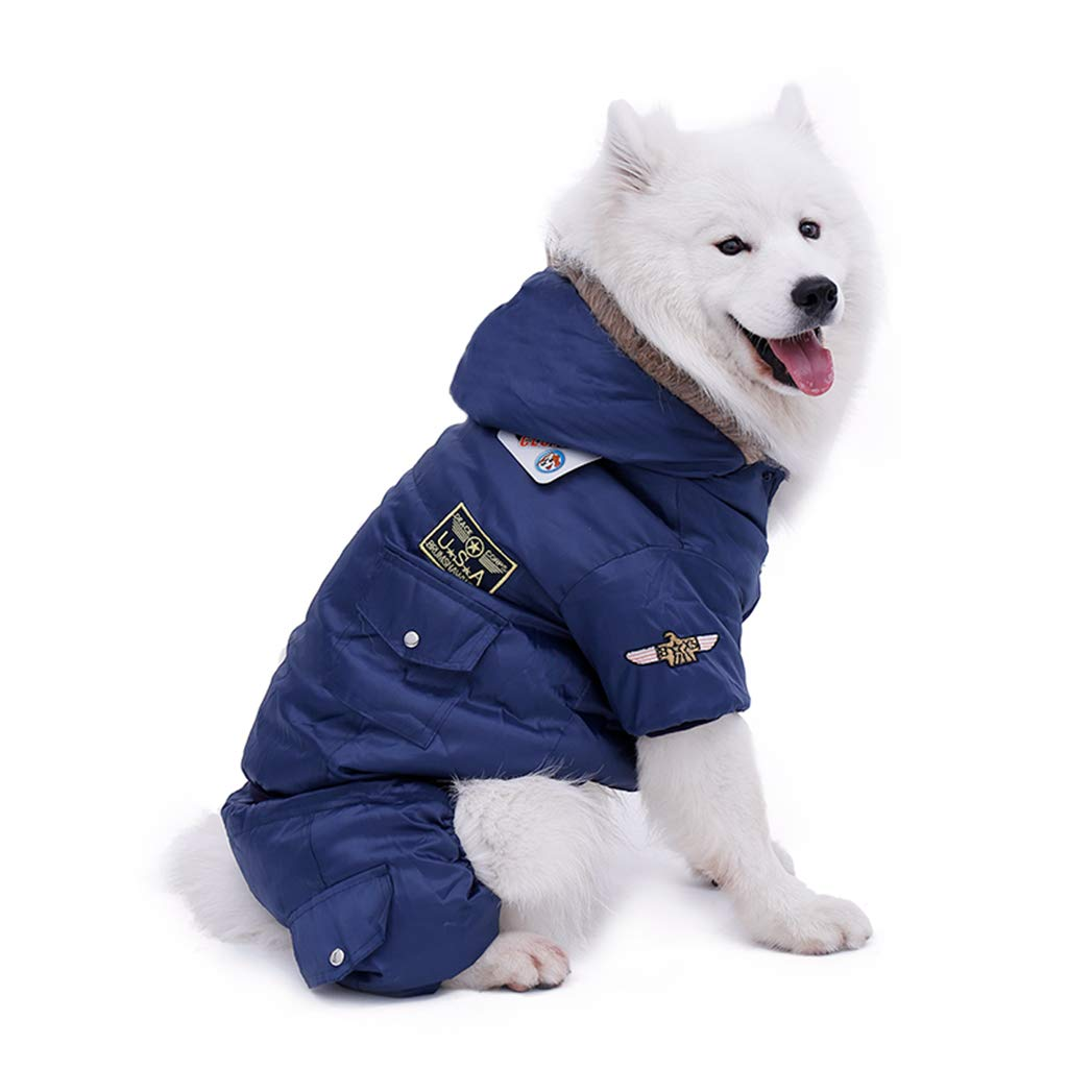 blueE S blueE S SENERY Winter Pet Dog Clothing,Warm Thick Pet Clothes Padded Hoodie Jumpsuit Pants Apparel