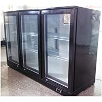 Black 3-door Refrigerator Back Bar Beverage Cooler R134a Refrigerant 110V 239258