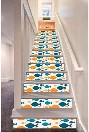 Adhesivo De Escalera Decoración Colorida De La Pared De La Etiqueta Engomada De La Escalera Del Estilo Del Modelo De Los Pescados (100 * 18cm)*13pcs: Amazon.es: Bricolaje y herramientas