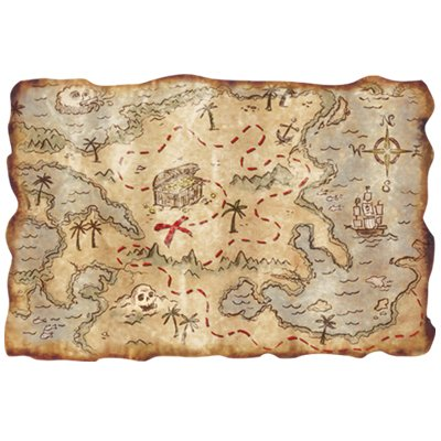 Plastic Treasure Map Party Accessory (1 count) - Treasure Caribbean Map The Pirates Of
