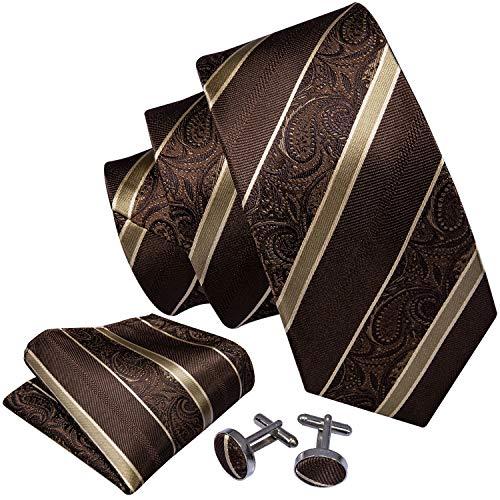 Barry.Wang Men Ties Handkerchief Cufflink Brown Stripe Fashion