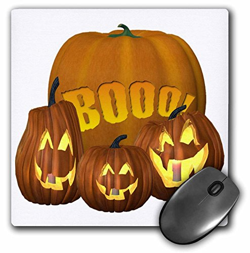 3dRose Blonde Designs Happy and Haunted Halloween - Halloween Boo Pumpkins - MousePad -