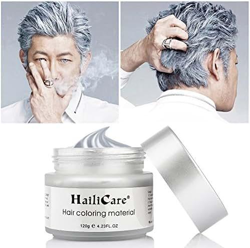 HailiCare Silver Gray Temporary Hair Dye Wax 4.23 oz, Silver Ash Hair Wax, Natural Matte Hairstyle for Party, Cosplay (Glass Jar)