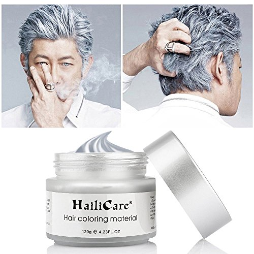 (HailiCare Silver Gray Temporary Hair Dye Wax 4.23 oz, Silver Ash Hair Wax, Natural Matte Hairstyle for Party, Cosplay (Glass Jar))