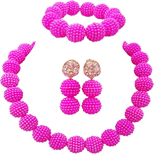 laanc Fashion Women 1 Rows Multicolor Plastic Imitation Pearl Nigerian Wedding Beads African Jewelry Sets (Hot Pink)