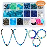 SUNNYCLUE 1 Box 350+pcs Luxury Jewelry Making Kit Beaded Charm Bracelet Necklace DIY Craft Kits for Teen, Girls Adults, Instruction, Blue and Green