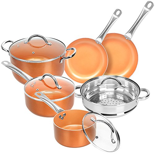 (SHINEURI Nonstick Ceramic Copper 10 Pieces Cookware Set, Aluminum Pots and Frying Pans Set, Steamer and Sauce pan with Stainless Steel Handle & Lid, Suitable for Induction, Gas, Electric and Stovetops)