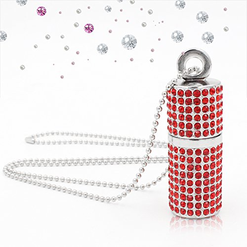 Techkey USB 3.0 USB Flash Drive,Bling Rhinestone Diamond Crystal Glitter Lipstick Case Shining Jewelry Necklace,64GB,Ruby Red