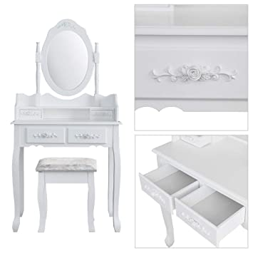 d64e6d94ab KOSY KOALA White Rose Dressing Table Makeup Desk dresser with Stool, 4  Drawers and Oval