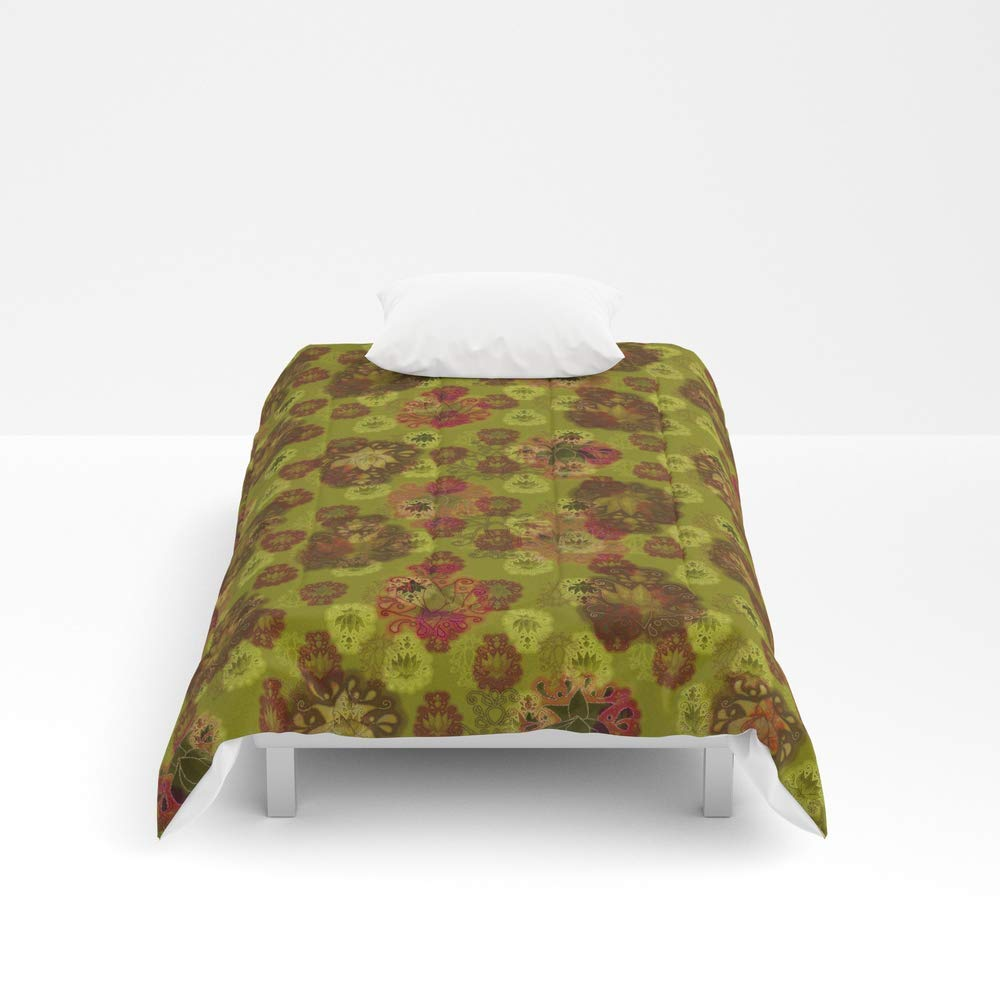 Society6 Comforter, Size Twin: 68'' x 88'', Lotus Flower - Curry Green Woodblock Print Style Pattern by evalundbergline