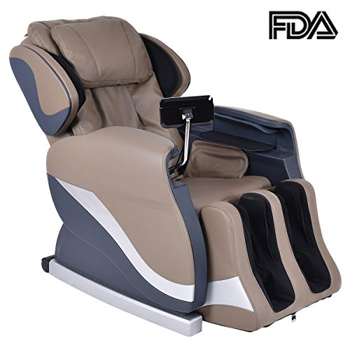 Giantex Coffee Electric Full Body Shiatsu 25 Airbag Zero Gravity Massage Chair Recliner, with Stretched Foot Rest