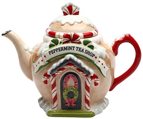 Cosmos 10936 Gifts Santa's Village Ceramic Teapot, 7-1/4-Inch (Cookie Jar Teapot)