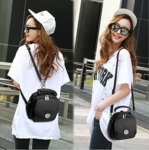 Crossbody Sling Bag Girls Small Travel Backpack Shoulder Leather for Women Daypack Women's Purses Black Mytbag vITw88