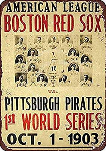 (Red Sox Office Decor , Red Sox Pirates 1903 World Series Iron Poster Painting Tin Sign Vintage Wall Decor for Cafe Bar Pub Home Beer Decoration Crafts, Tin Happy Hour Sign)