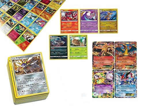 Pokemon TCG: 100 Card Lot Rare, Common, Unc, Holo with 2 Ex Cards - 2 Rare Card