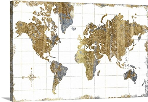 Canvas on Demand -Wrap Canvas Wall Art Gilded Map 48