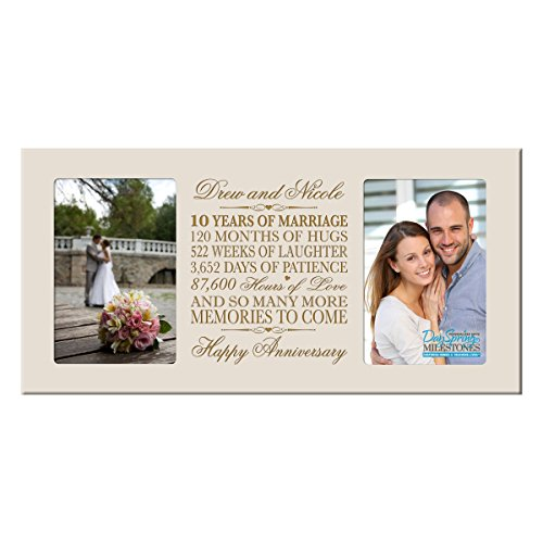 Personalized ten year anniversary gift her him couple Custom Engraved wedding celebration for Husband wife girlfriend boyfriend photo frame holds two 4x6 photos by DaySpring International (Ivory)