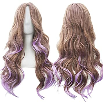 70Cm Long Women Hair Ombre Color High Temperature Fiber Wigs Pink Blue Synthetic Hair Cosplay Wig