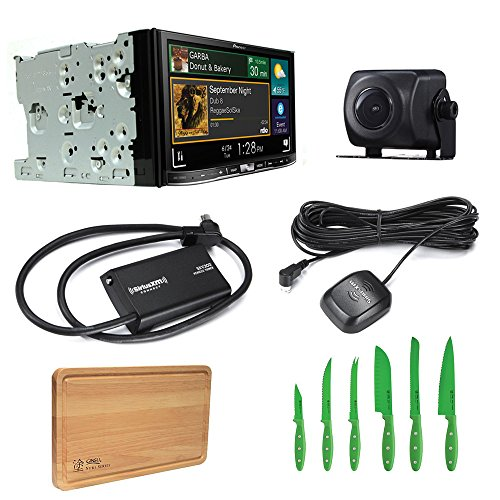 Pioneer Car Stereo AVIC-7200NEX Bluetooth DVD/CD with Pioneer ND-BC8 Universal Rear-View Camera, SiriusXM SXV300V1 Tuner and Free Free Ginsu Nuri Cutlery Set (Pioneer Card Stereo)
