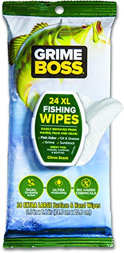 GRIME BOSS Fishing Wipes, Boating, Camping, Heavy Duty Cleaning Wipes, Outdoor Gear and Hand Wipes (24 Count)