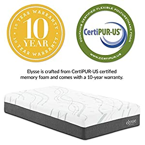 "Modway Elysse 12"" Twin Cooling Hybrid Mattress - CertiPUR-US Certified Memory Foam - Individually Encased Coils - 10-Year Warranty"