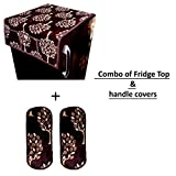 Kanushi Industries Floral Design 1 Fridge Cover for Top with 6 Utility Pockets (Maroon Color) + 2 Handles Covers