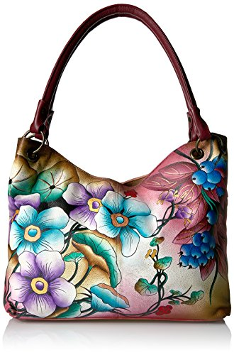 Anna by Anuschka Women's Genuine Leather Large Satchel | Hand Painted Original Artwork | Floral Berries