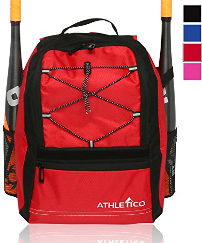 (Athletico Youth Baseball Bat Bag - Backpack for Baseball, T-Ball & Softball Equipment & Gear | Holds Bat, Helmet, Glove | Fence Hook (Red))