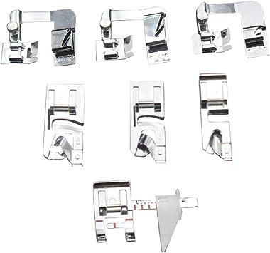 Zerama Pies 8pcs Presser Kit del Sistema de la máquina de Coser del pie Ajustable Guía de Bias Carpeta Dobladillo Hecho a pie de presión: Amazon.es: Electrónica