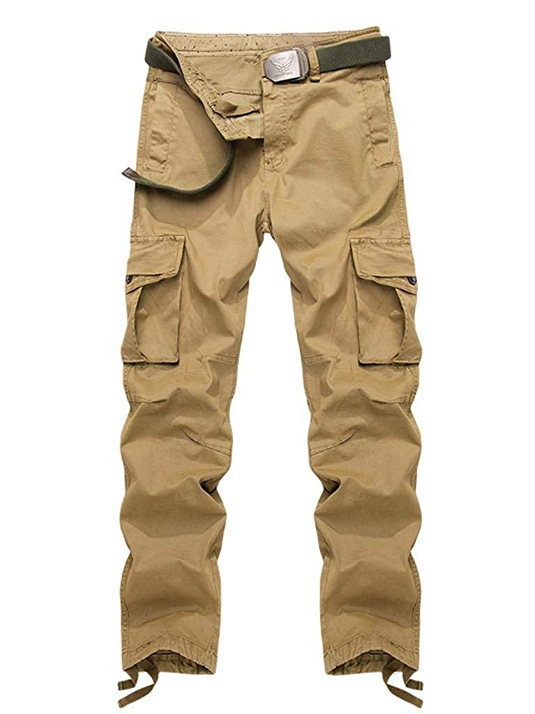 AKARMY Men's Relaxed Fit Cotton Casual Cargo Pant Combat Hiking Trousers