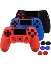 ASIV 3pcs PS4 Controller Skin Anti-Slip Silicone Grip Cover Protector Case with 6 Thumb Grip Caps Compatible with Playstation 4 Gamepad (Black + Red + Blue)