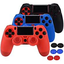 Silicone Protective Skin Case Non-slip for PS4 Controller x 3 (Black + Red + Blue) + Thumb Grips Attachments x 6