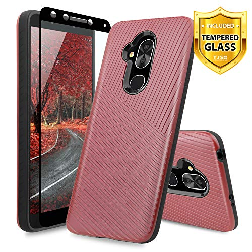 (TJS Alcatel 7/Alcatel Revvl 2 Plus Case, with [Full Coverage Tempered Glass Screen Protector] Hybrid Shock Absorbing Armor Textured Embossed Lines Hard Plastic PC TPU Protector Phone Case (Red))