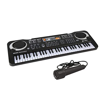 Instrumento musical portátil de 61 teclas para órgano electrónico con micrófono, teclado simulado, música